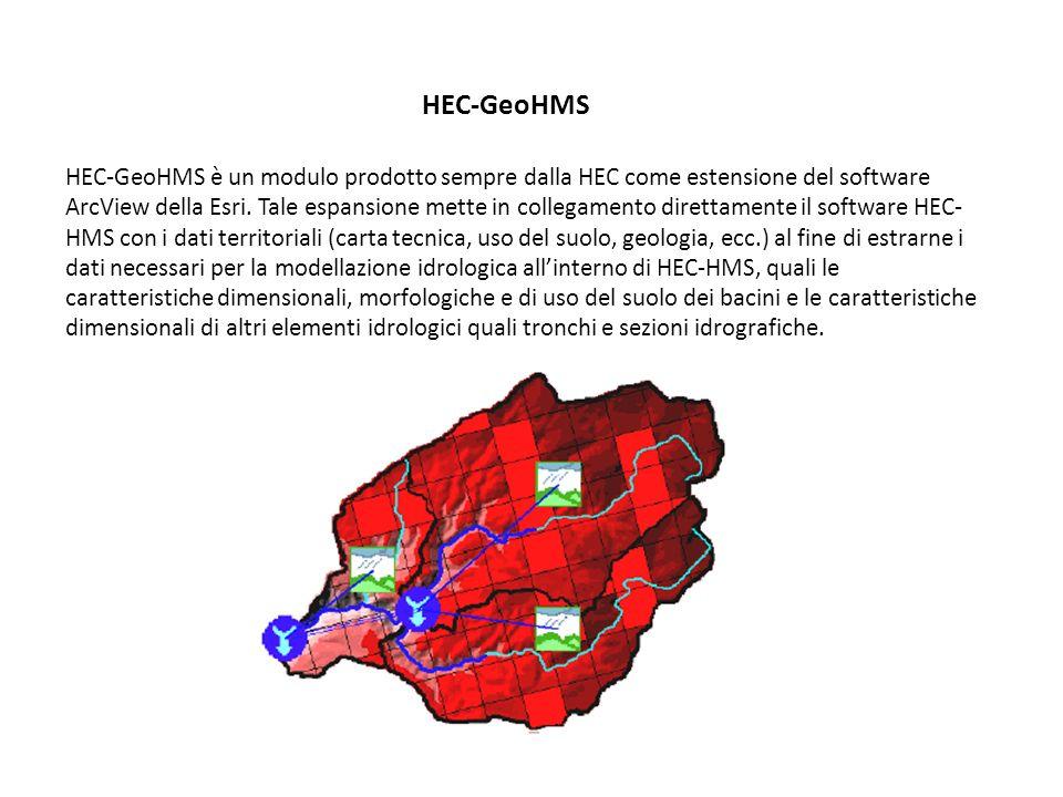 HEC-GeoHMS HEC-GeoHMS è un modulo prodotto sempre dalla HEC come estensione del software ArcView della Esri. Tale espansione mette in collegamento dir