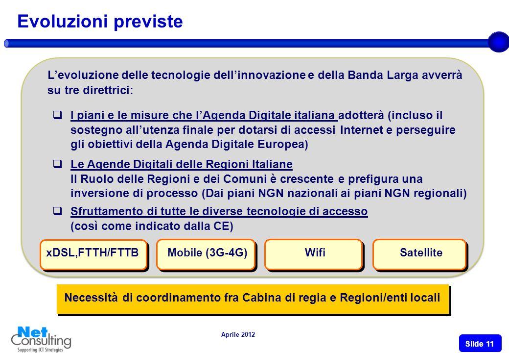 Aprile 2012 Slide 10 DallAgenda Digitale alle Agende Digitali Le Regioni, complessivamente investono 4,3 Mdi euro nella società dellinformazione (2011-2013) Piemonte Regione leader per gli Open data ed il riuso dei dati pubblici Agenda Digitale Marche 46 Mln di investimenti in ICT Progetto Marche Cloud per infrastruttura reg.