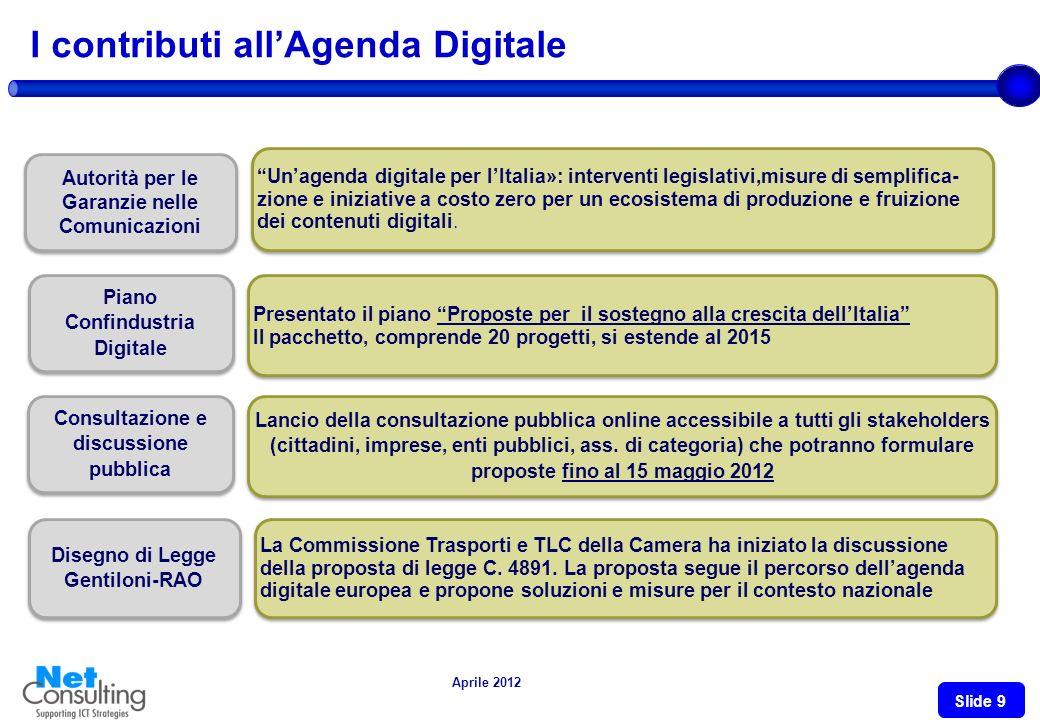 Aprile 2012 Slide 8 LAgenda Digitale L'Agenda Digitale Europea è una delle sette iniziative faro della strategia Europa 2020 e mira a stabilire il ruo