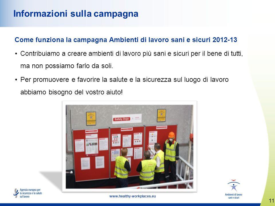 11 www.healthy-workplaces.eu Informazioni sulla campagna Come funziona la campagna Ambienti di lavoro sani e sicuri 2012-13 Contribuiamo a creare ambienti di lavoro più sani e sicuri per il bene di tutti, ma non possiamo farlo da soli.