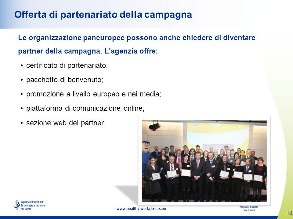 14 www.healthy-workplaces.eu Offerta di partenariato della campagna Le organizzazione paneuropee possono anche chiedere di diventare partner della campagna.