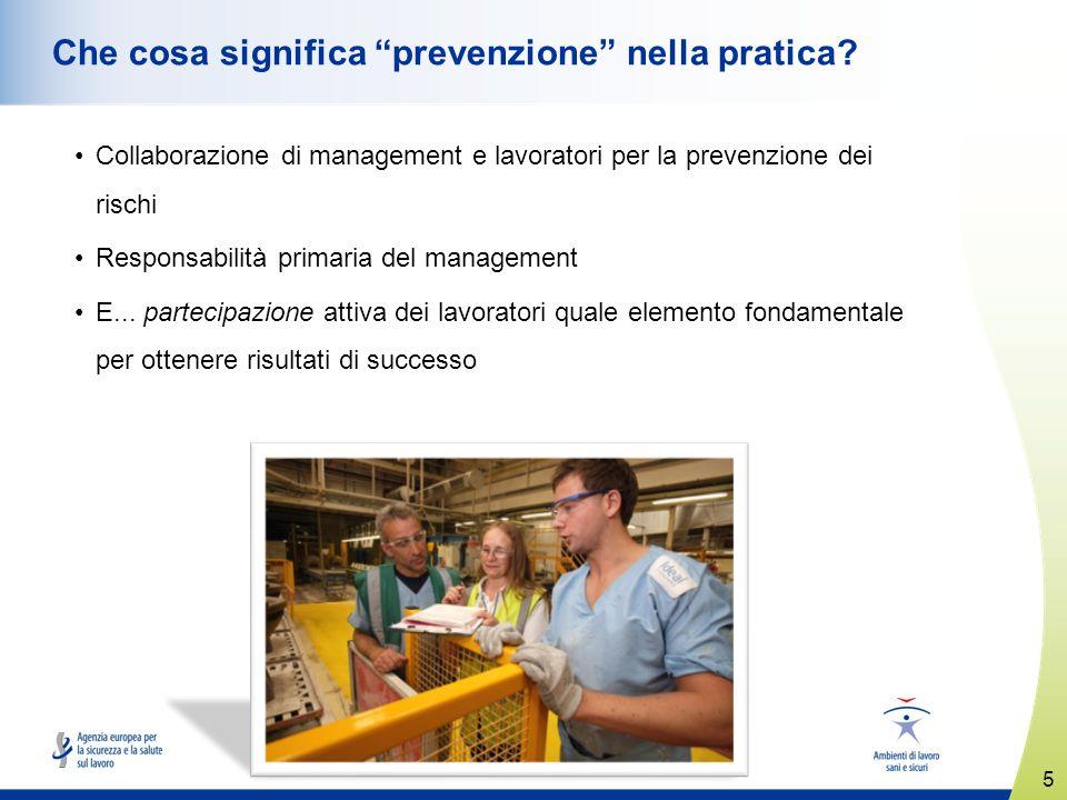 5 www.healthy-workplaces.eu Che cosa significa prevenzione nella pratica? Collaborazione di management e lavoratori per la prevenzione dei rischi Resp