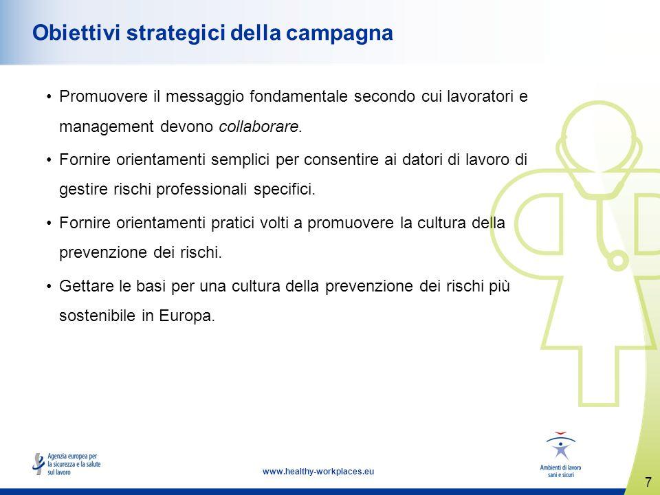 7 www.healthy-workplaces.eu Obiettivi strategici della campagna Promuovere il messaggio fondamentale secondo cui lavoratori e management devono collaborare.