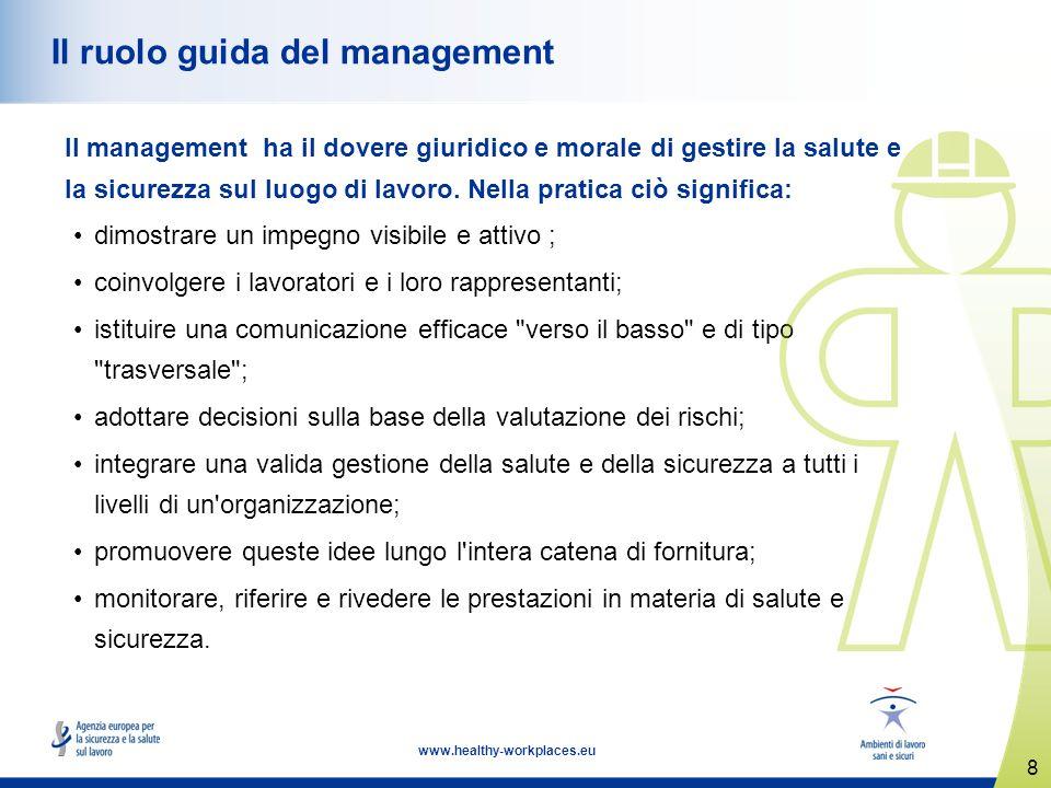 8 www.healthy-workplaces.eu Il ruolo guida del management Il management ha il dovere giuridico e morale di gestire la salute e la sicurezza sul luogo di lavoro.