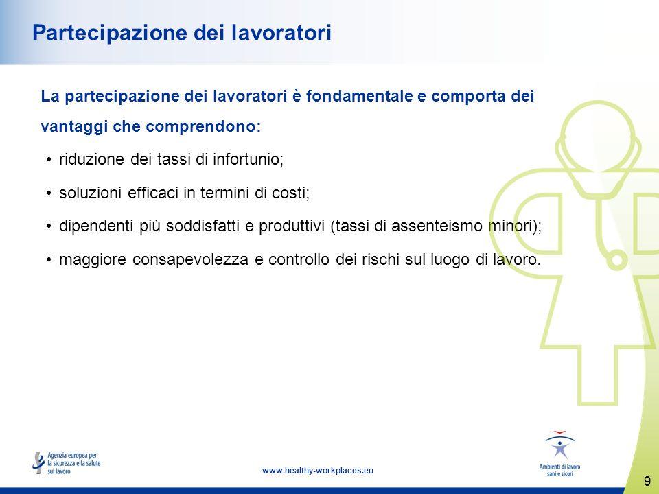 9 www.healthy-workplaces.eu Partecipazione dei lavoratori La partecipazione dei lavoratori è fondamentale e comporta dei vantaggi che comprendono: rid