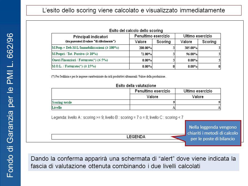 Fondo di Garanzia per le PMI L. 662/96 Nella leggenda vengono chiariti i metodi di calcolo per le poste di bilancio Dando la conferma apparirà una sch