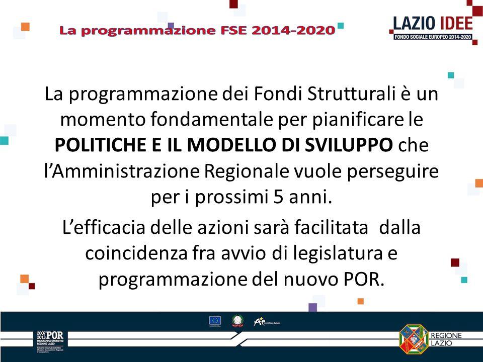 La programmazione dei Fondi Strutturali è un momento fondamentale per pianificare le POLITICHE E IL MODELLO DI SVILUPPO che lAmministrazione Regionale vuole perseguire per i prossimi 5 anni.