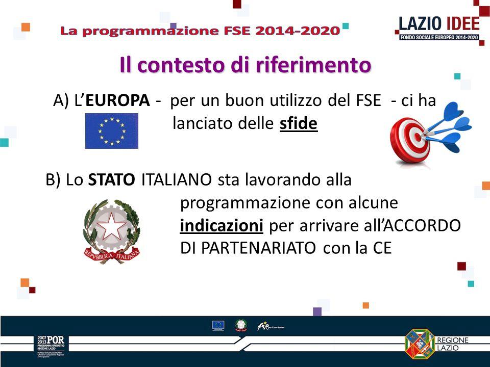A) LEUROPA - per un buon utilizzo del FSE - ci ha lanciato delle sfide Il contesto di riferimento B) Lo STATO ITALIANO sta lavorando alla programmazione con alcune indicazioni per arrivare allACCORDO DI PARTENARIATO con la CE