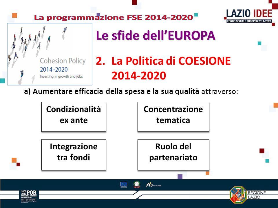 2.La Politica di COESIONE 2014-2020 a) Aumentare efficacia della spesa e la sua qualità attraverso: Condizionalità ex ante Concentrazione tematica Ruolo del partenariato Integrazione tra fondi Le sfide dellEUROPA