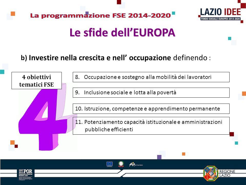 b) Investire nella crescita e nell occupazione definendo : 4 obiettivi tematici FSE 8.