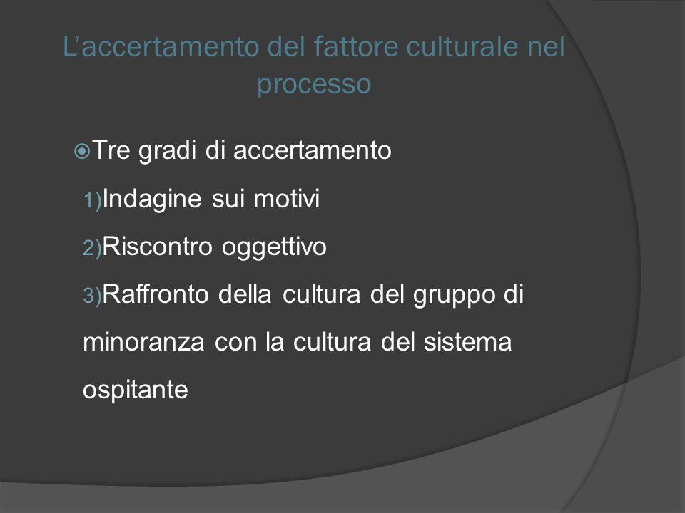 Laccertamento del fattore culturale nel processo Tre gradi di accertamento 1) Indagine sui motivi 2) Riscontro oggettivo 3) Raffronto della cultura del gruppo di minoranza con la cultura del sistema ospitante