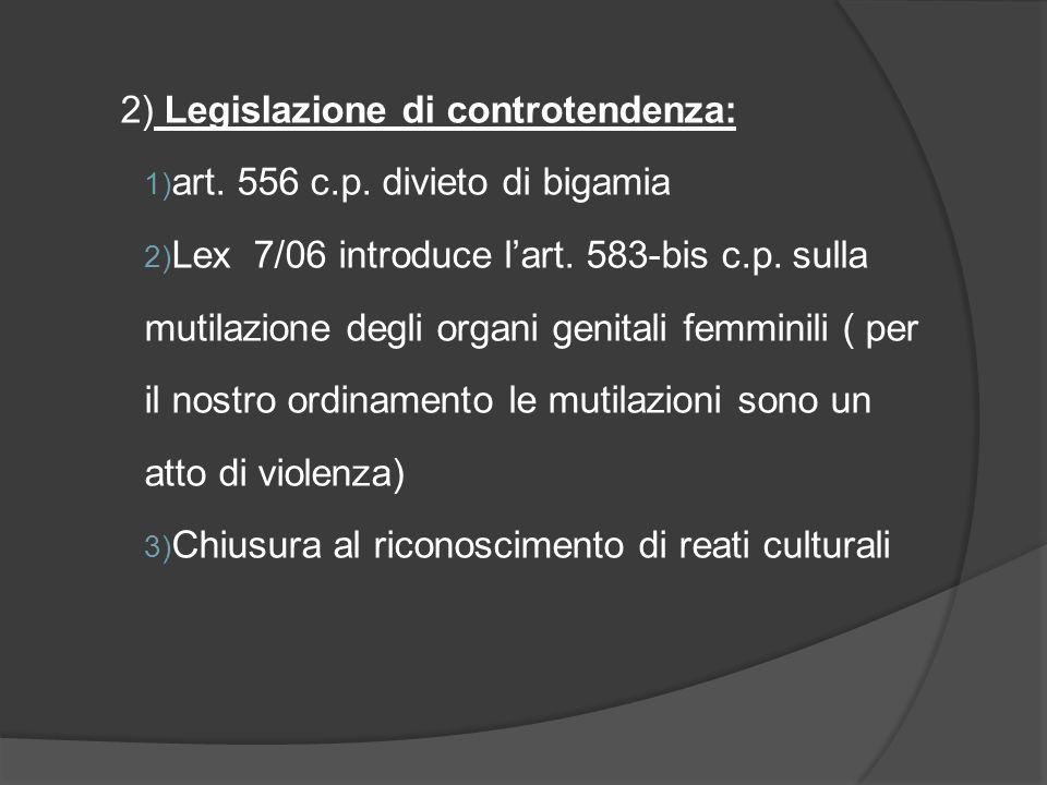 2) Legislazione di controtendenza: 1) art.556 c.p.