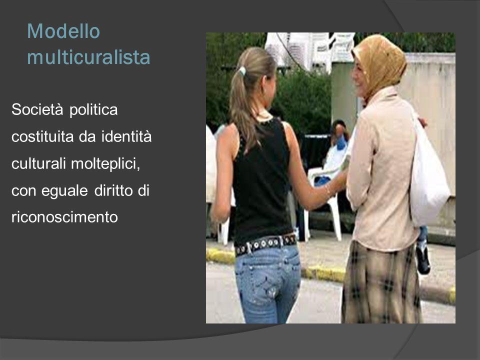 Modello multicuralista Società politica costituita da identità culturali molteplici, con eguale diritto di riconoscimento