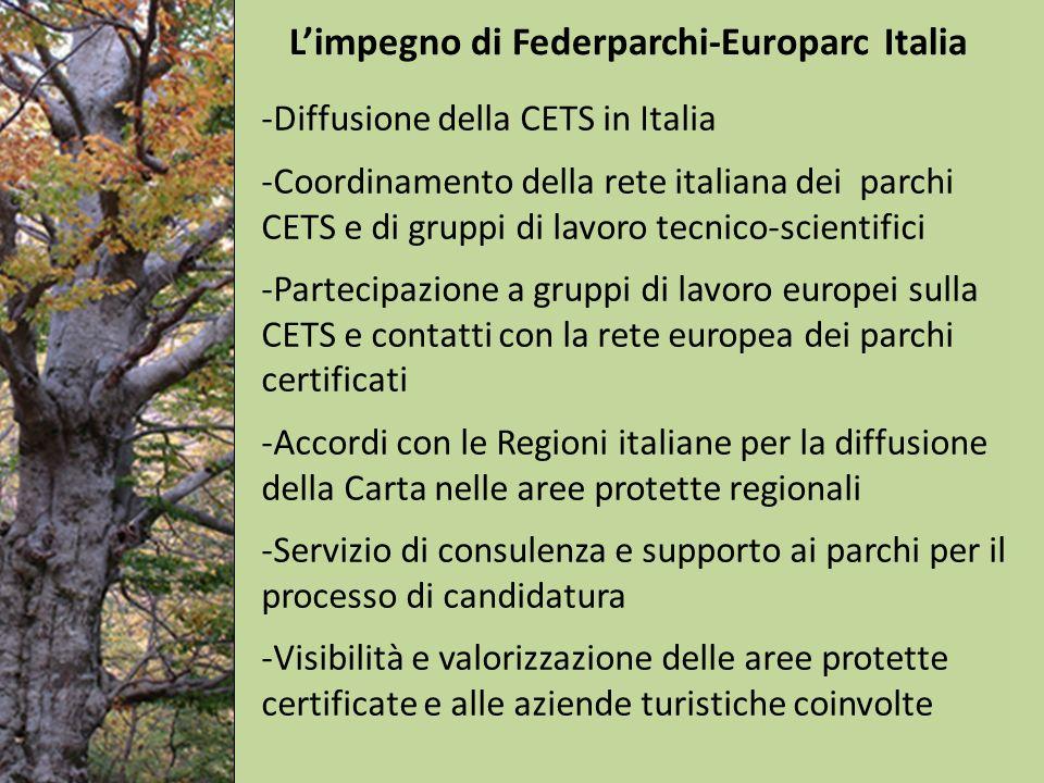 -Diffusione della CETS in Italia -Coordinamento della rete italiana dei parchi CETS e di gruppi di lavoro tecnico-scientifici -Partecipazione a gruppi di lavoro europei sulla CETS e contatti con la rete europea dei parchi certificati -Accordi con le Regioni italiane per la diffusione della Carta nelle aree protette regionali -Servizio di consulenza e supporto ai parchi per il processo di candidatura -Visibilità e valorizzazione delle aree protette certificate e alle aziende turistiche coinvolte Limpegno di Federparchi-Europarc Italia