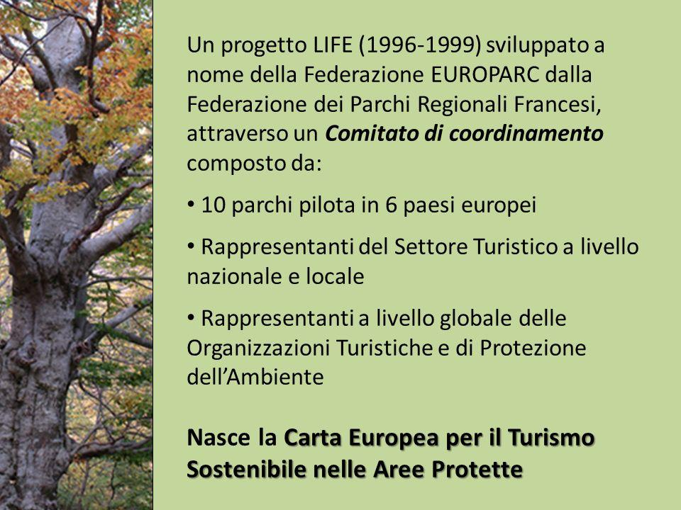 Un progetto LIFE (1996-1999) sviluppato a nome della Federazione EUROPARC dalla Federazione dei Parchi Regionali Francesi, attraverso un Comitato di coordinamento composto da: 10 parchi pilota in 6 paesi europei Rappresentanti del Settore Turistico a livello nazionale e locale Rappresentanti a livello globale delle Organizzazioni Turistiche e di Protezione dellAmbiente Carta Europea per il Turismo Sostenibile nelle Aree Protette Nasce la Carta Europea per il Turismo Sostenibile nelle Aree Protette