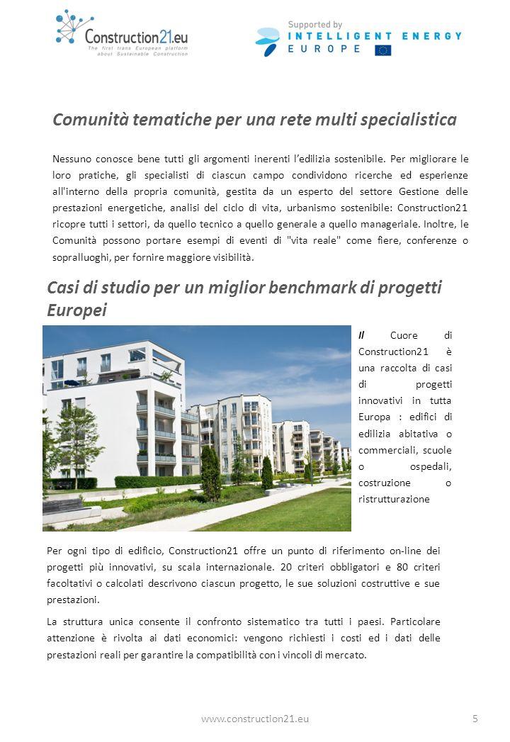 www.construction21.eu5 Comunità tematiche per una rete multi specialistica Nessuno conosce bene tutti gli argomenti inerenti ledilizia sostenibile.