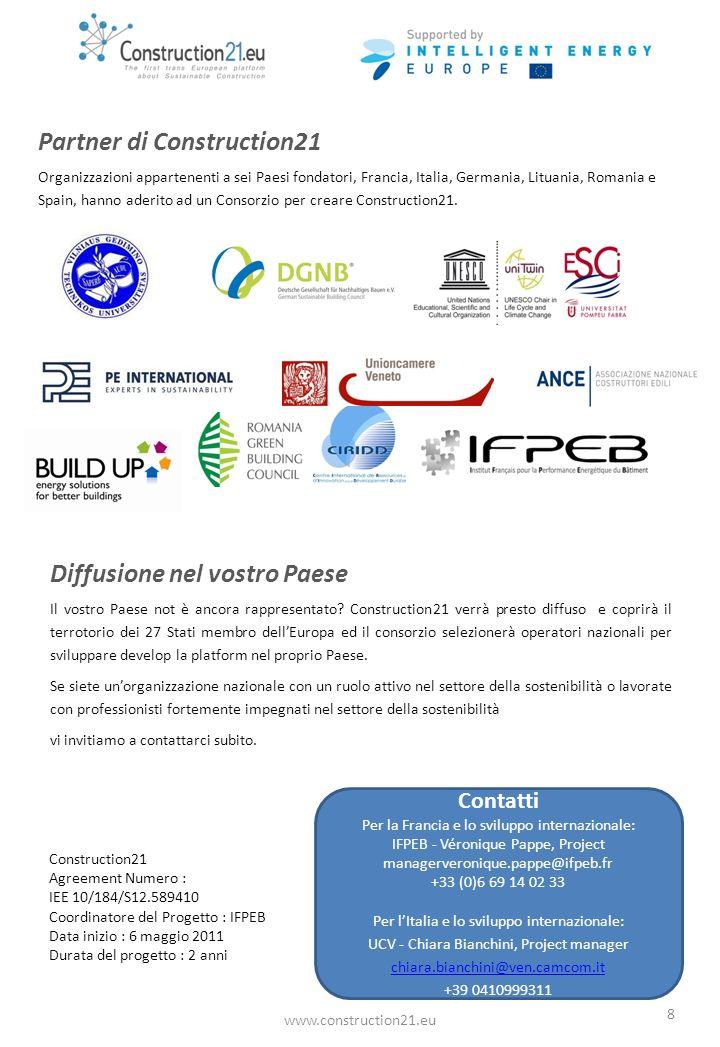 www.construction21.eu 8 Partner di Construction21 Organizzazioni appartenenti a sei Paesi fondatori, Francia, Italia, Germania, Lituania, Romania e Spain, hanno aderito ad un Consorzio per creare Construction21.