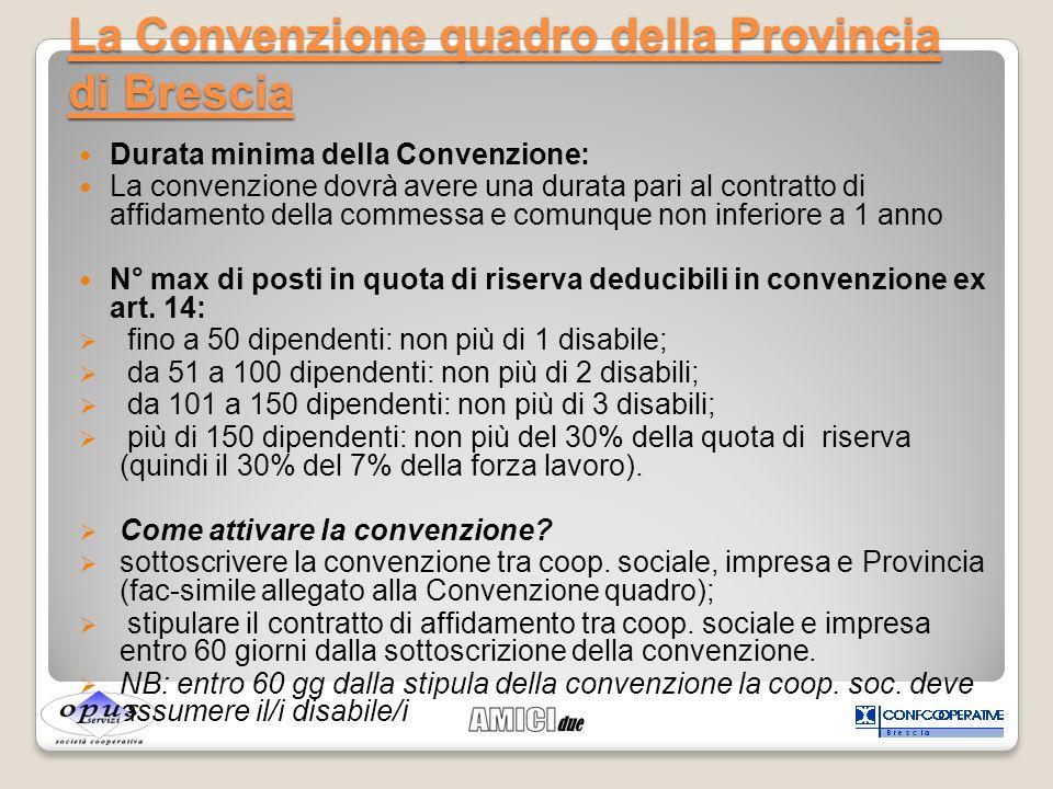 Durata minima della Convenzione: La convenzione dovrà avere una durata pari al contratto di affidamento della commessa e comunque non inferiore a 1 an