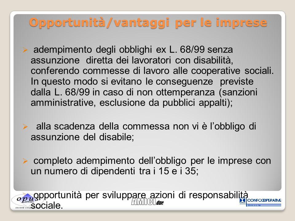 adempimento degli obblighi ex L. 68/99 senza assunzione diretta dei lavoratori con disabilità, conferendo commesse di lavoro alle cooperative sociali.