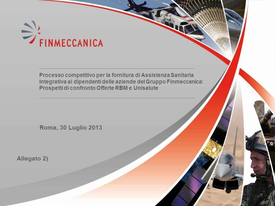 11 Processo competitivo per la fornitura di Assistenza Sanitaria Integrativa ai dipendenti delle aziende del Gruppo Finmeccanica: Prospetti di confron