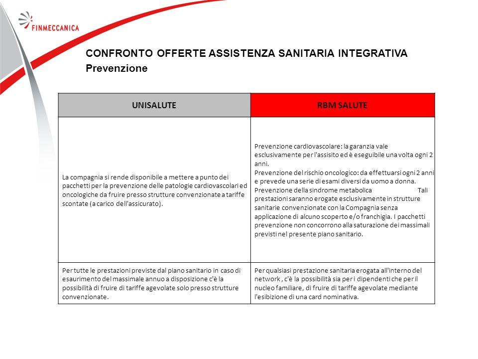 77 CONFRONTO OFFERTE ASSISTENZA SANITARIA INTEGRATIVA Prevenzione UNISALUTERBM SALUTE La compagnia si rende disponibile a mettere a punto dei pacchett