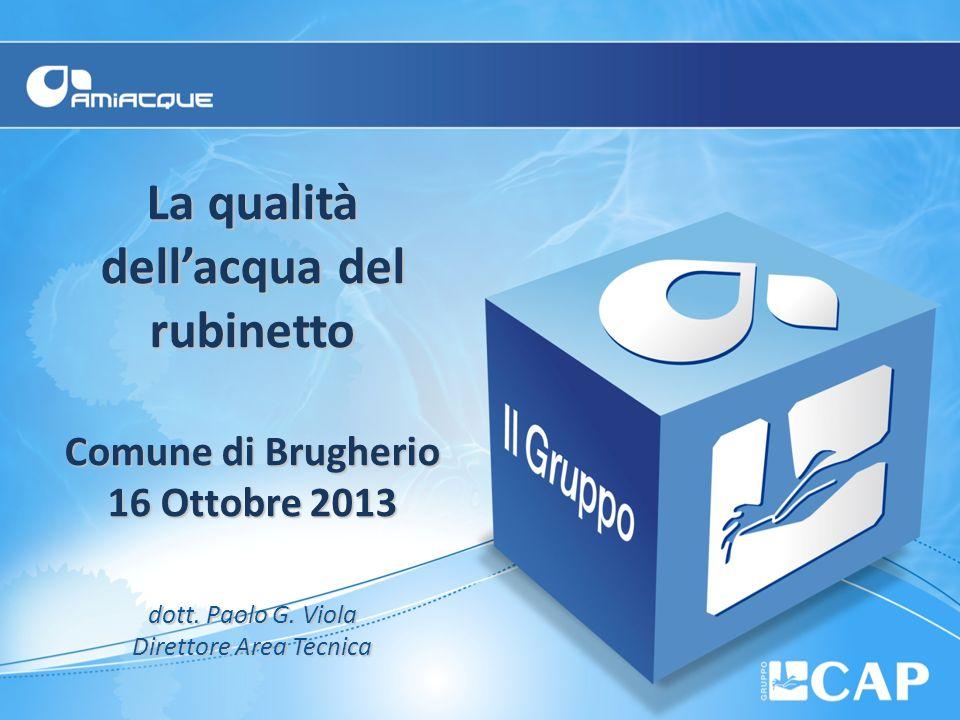 La qualità dellacqua del rubinetto Comune di Brugherio 16 Ottobre 2013 dott. Paolo G. Viola Direttore Area Tecnica