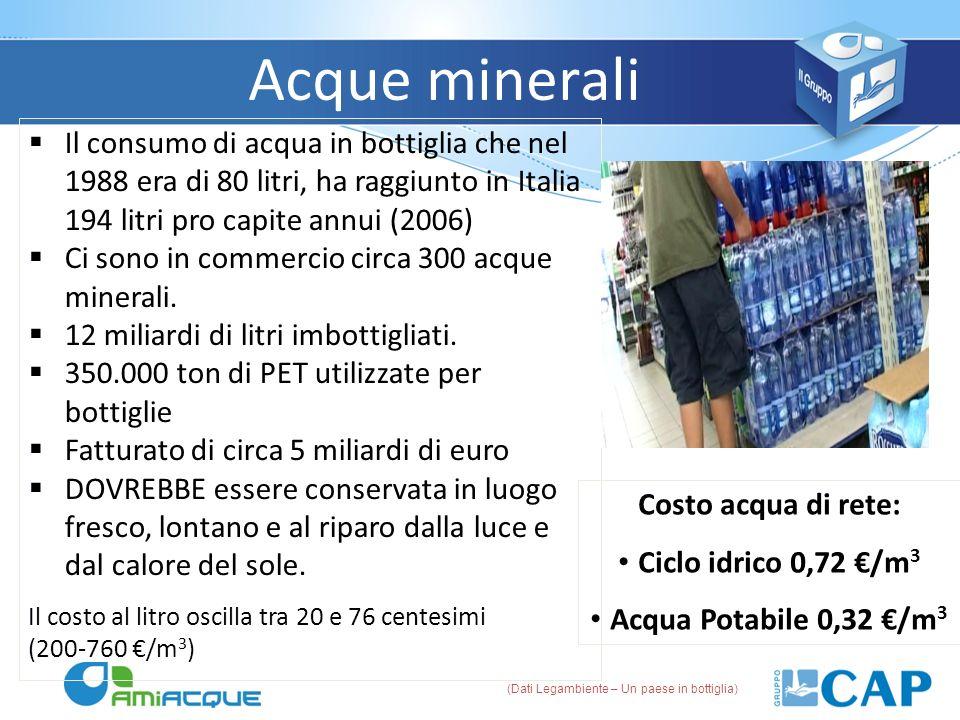 Acque minerali Il consumo di acqua in bottiglia che nel 1988 era di 80 litri, ha raggiunto in Italia 194 litri pro capite annui (2006) Ci sono in comm