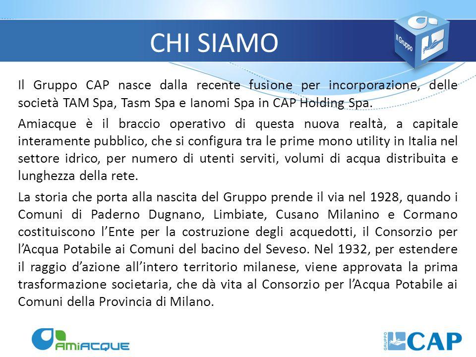 Il Gruppo CAP nasce dalla recente fusione per incorporazione, delle società TAM Spa, Tasm Spa e Ianomi Spa in CAP Holding Spa. Amiacque è il braccio o