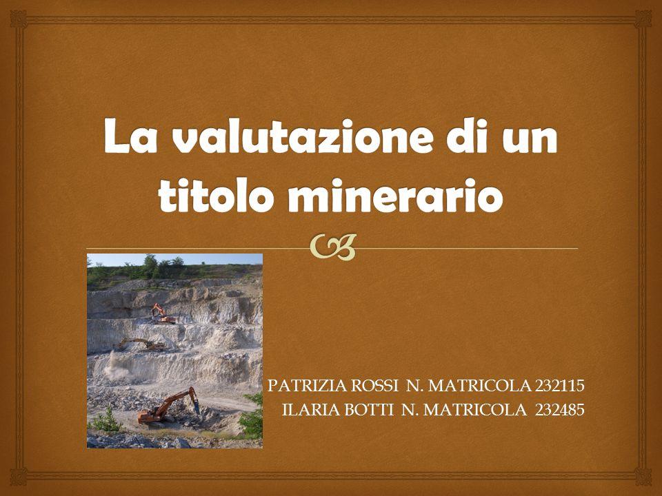 PATRIZIA ROSSI N. MATRICOLA 232115 ILARIA BOTTI N. MATRICOLA 232485
