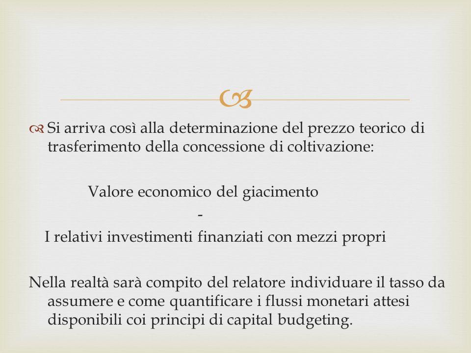 Si arriva così alla determinazione del prezzo teorico di trasferimento della concessione di coltivazione: Valore economico del giacimento - I relativi