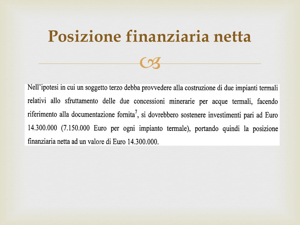 Posizione finanziaria netta