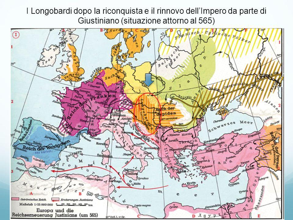 I Longobardi dopo la riconquista e il rinnovo dellImpero da parte di Giustiniano (situazione attorno al 565)