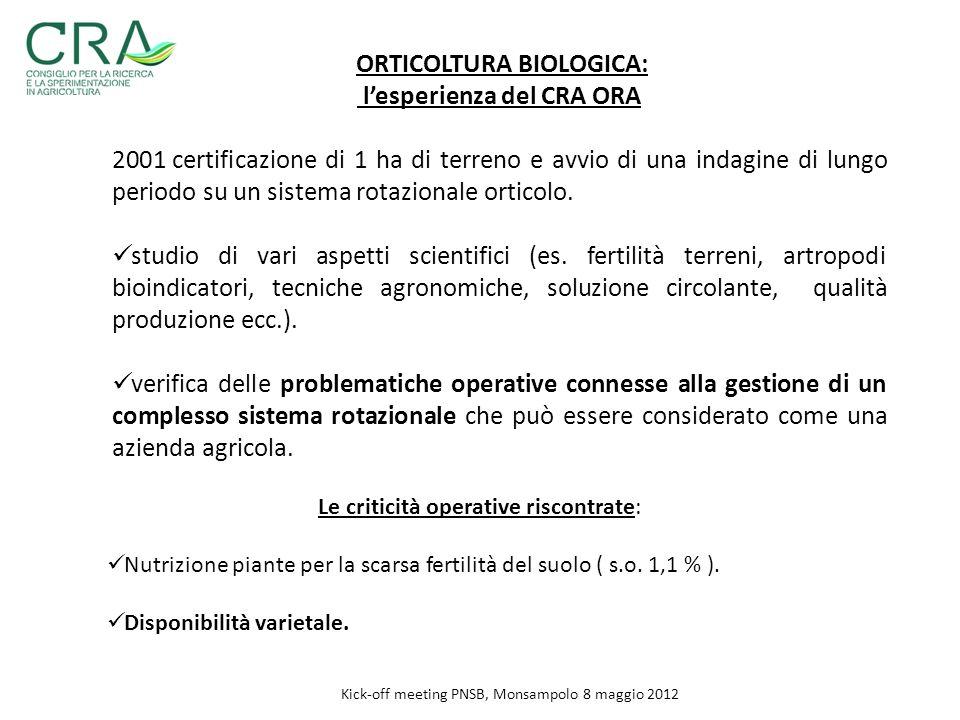 ORTICOLTURA BIOLOGICA: lesperienza del CRA ORA 2001 certificazione di 1 ha di terreno e avvio di una indagine di lungo periodo su un sistema rotaziona