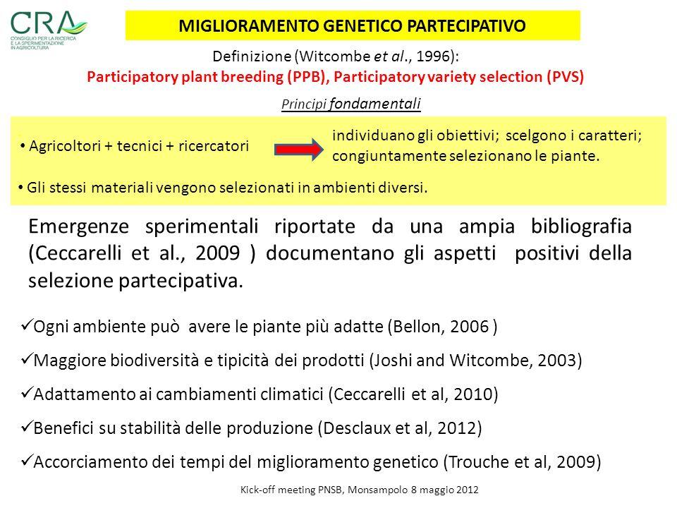 . MIGLIORAMENTO GENETICO PARTECIPATIVO Emergenze sperimentali riportate da una ampia bibliografia (Ceccarelli et al., 2009 ) documentano gli aspetti p