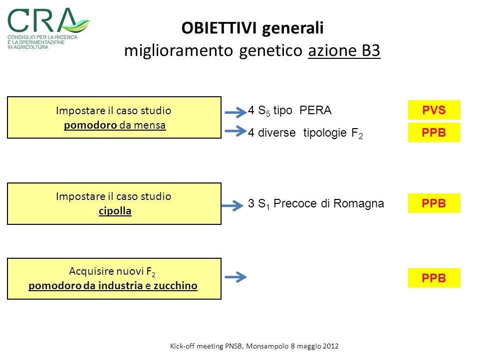 .. OBIETTIVI generali miglioramento genetico azione B3 Impostare il caso studio cipolla Impostare il caso studio pomodoro da mensa Kick-off meeting PN
