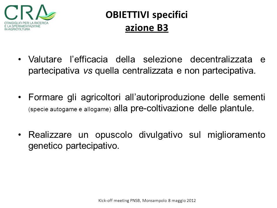 Valutare lefficacia della selezione decentralizzata e partecipativa vs quella centralizzata e non partecipativa. Formare gli agricoltori allautoriprod