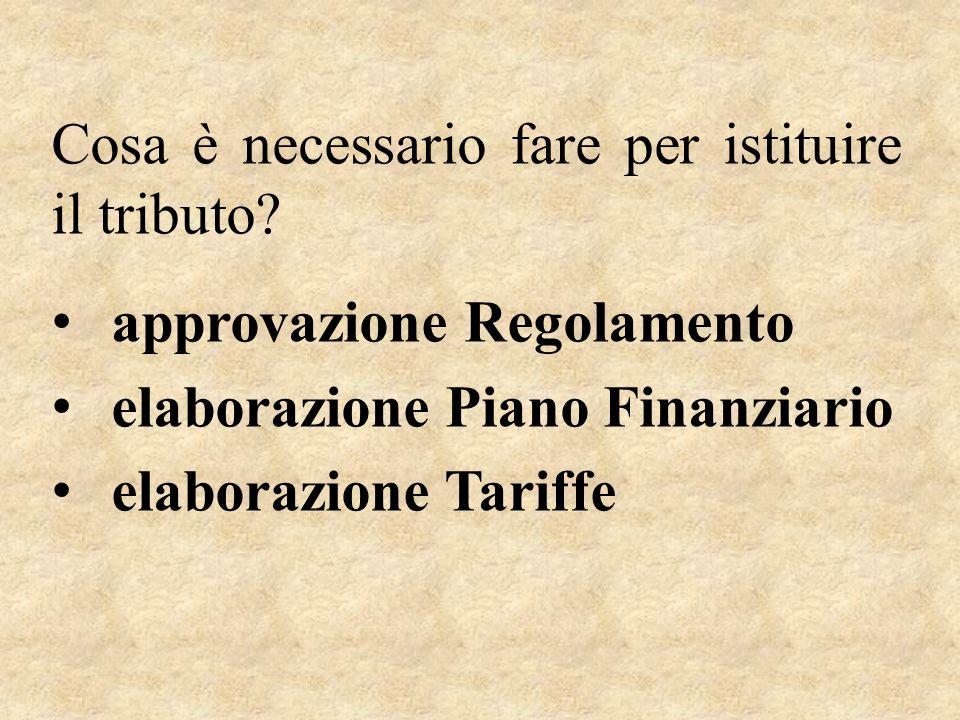 Cosa è necessario fare per istituire il tributo? approvazione Regolamento elaborazione Piano Finanziario elaborazione Tariffe