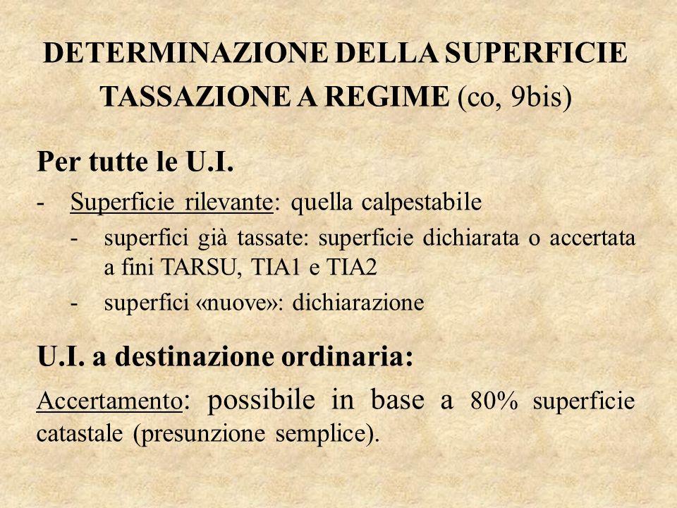 DETERMINAZIONE DELLA SUPERFICIE TASSAZIONE A REGIME (co, 9bis) Per tutte le U.I. -Superficie rilevante: quella calpestabile -superfici già tassate: su