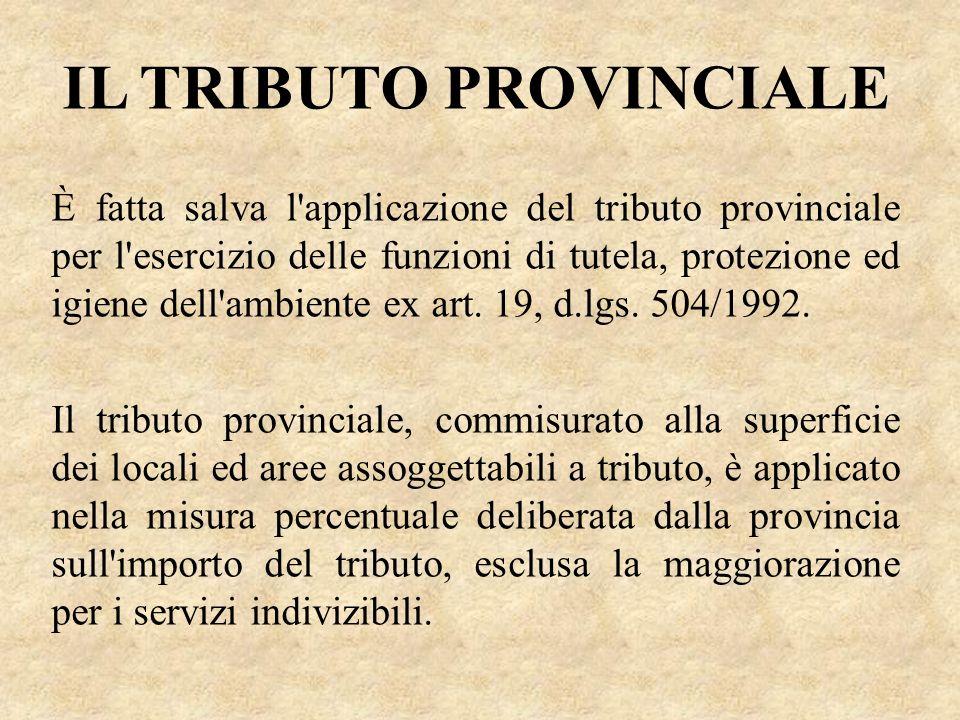 IL TRIBUTO PROVINCIALE È fatta salva l'applicazione del tributo provinciale per l'esercizio delle funzioni di tutela, protezione ed igiene dell'ambien