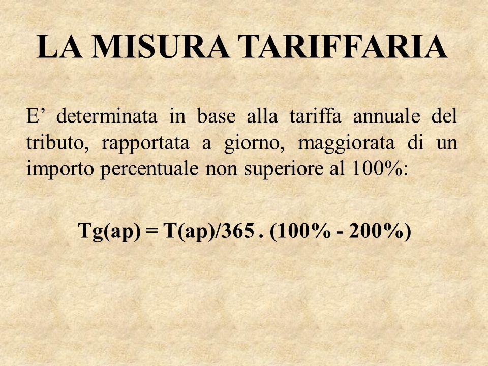 LA MISURA TARIFFARIA E determinata in base alla tariffa annuale del tributo, rapportata a giorno, maggiorata di un importo percentuale non superiore a