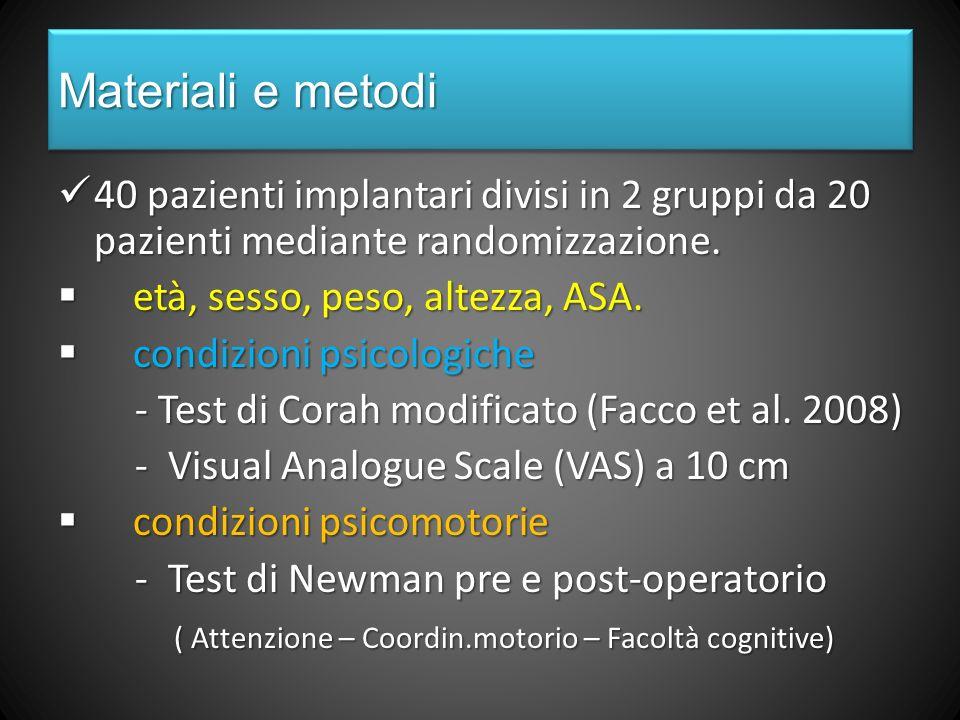 Materiali e metodi 40 pazienti implantari divisi in 2 gruppi da 20 pazienti mediante randomizzazione.
