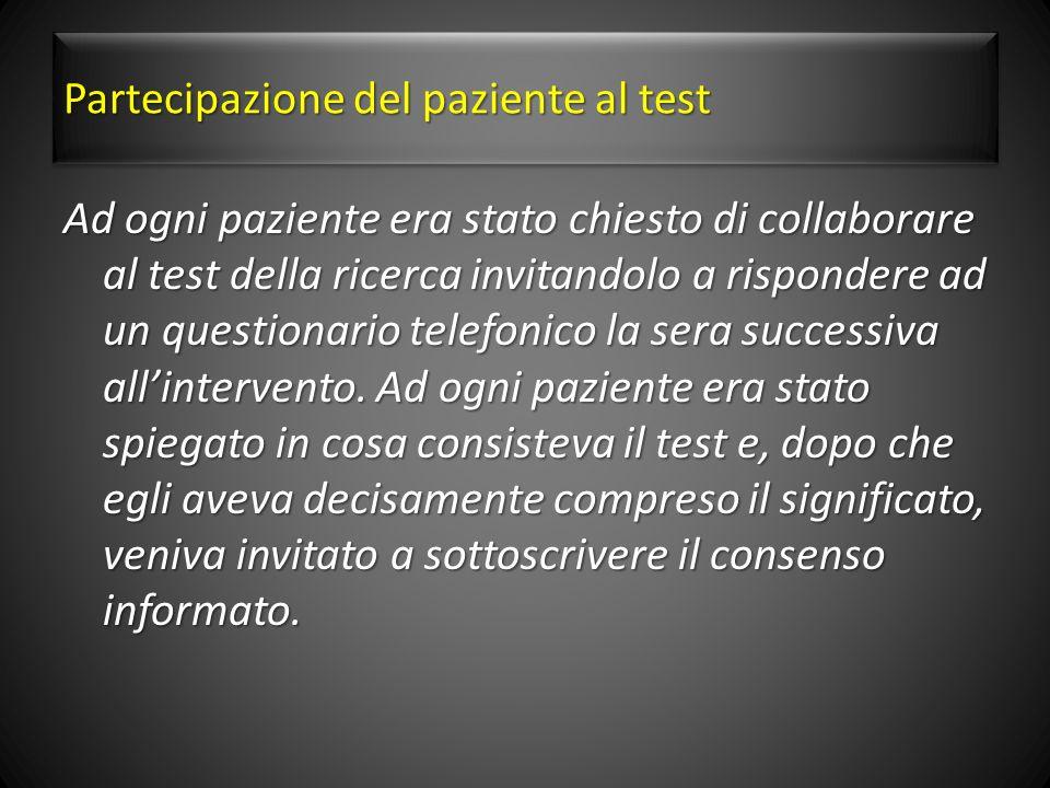 Partecipazione del paziente al test Ad ogni paziente era stato chiesto di collaborare al test della ricerca invitandolo a rispondere ad un questionario telefonico la sera successiva allintervento.