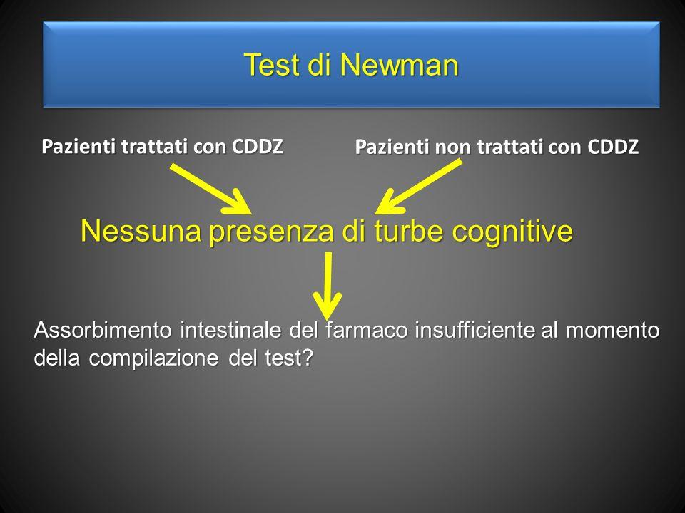 Test di Newman Pazienti trattati con CDDZ Pazienti non trattati con CDDZ Nessuna presenza di turbe cognitive Assorbimento intestinale del farmaco insufficiente al momento della compilazione del test?