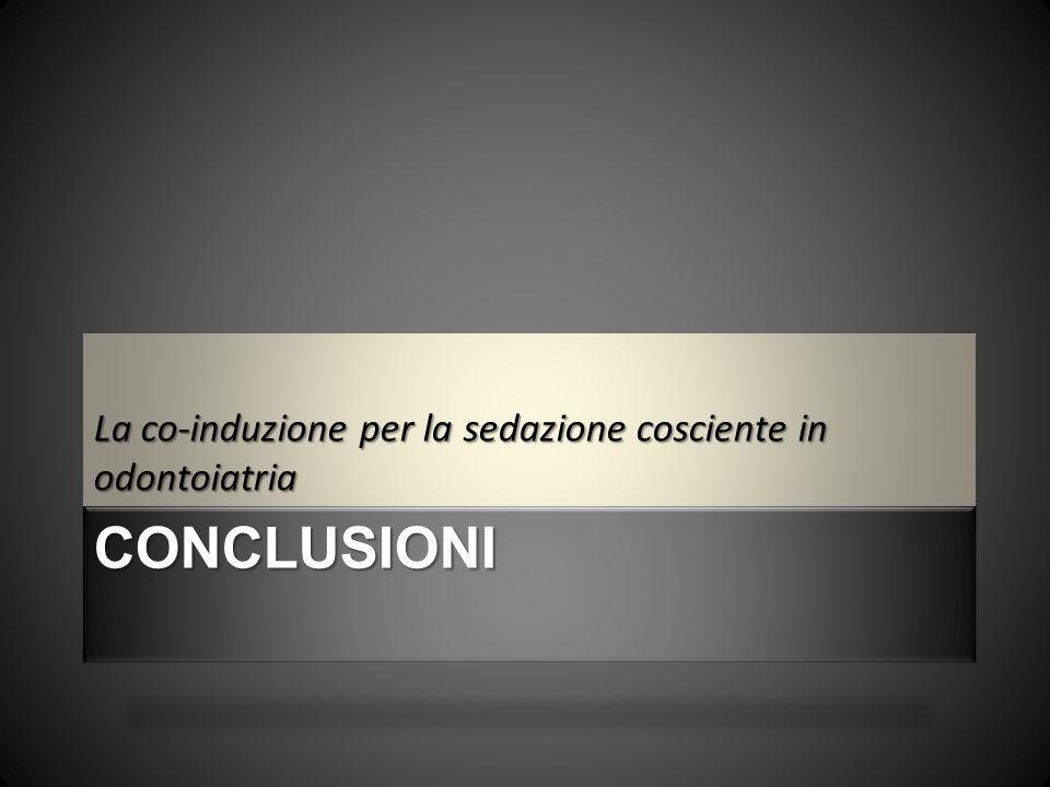 CONCLUSIONI La co-induzione per la sedazione cosciente in odontoiatria
