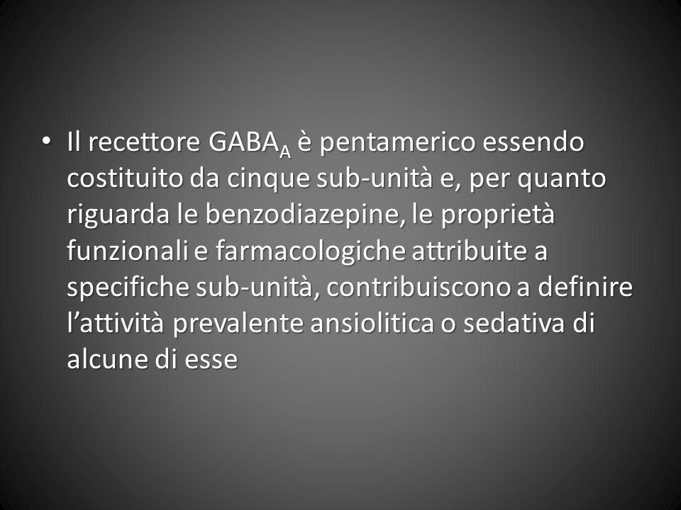 Il recettore GABA A è pentamerico essendo costituito da cinque sub-unità e, per quanto riguarda le benzodiazepine, le proprietà funzionali e farmacologiche attribuite a specifiche sub-unità, contribuiscono a definire lattività prevalente ansiolitica o sedativa di alcune di esse Il recettore GABA A è pentamerico essendo costituito da cinque sub-unità e, per quanto riguarda le benzodiazepine, le proprietà funzionali e farmacologiche attribuite a specifiche sub-unità, contribuiscono a definire lattività prevalente ansiolitica o sedativa di alcune di esse
