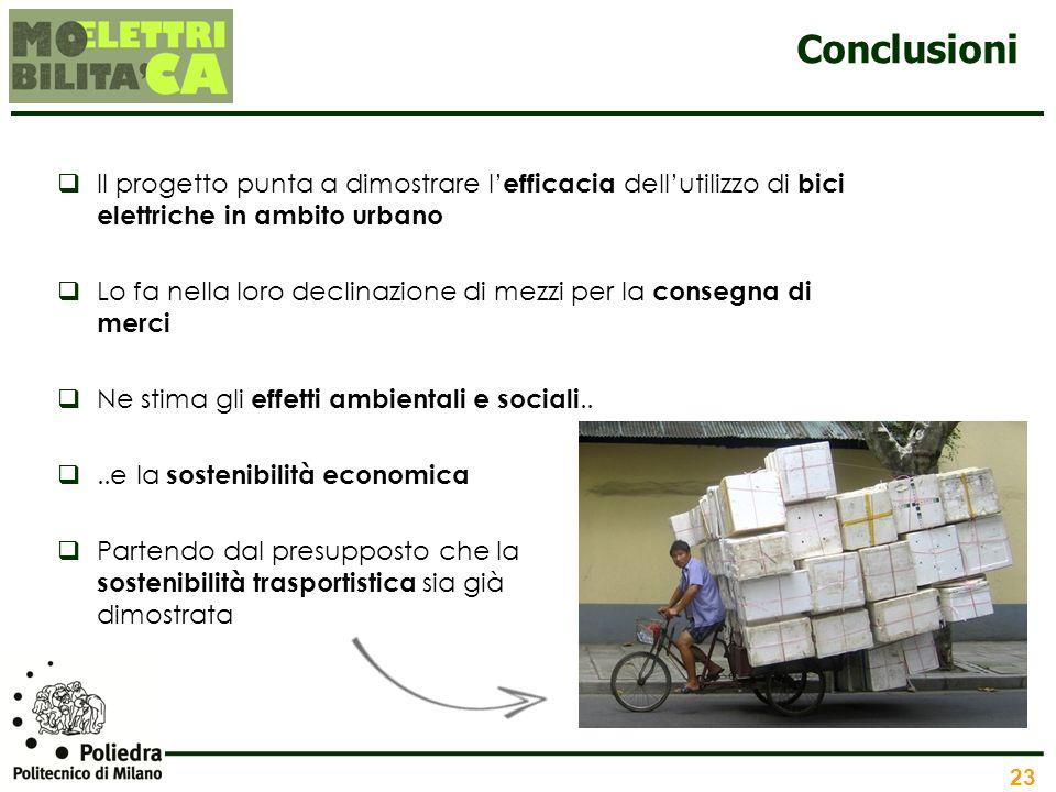 23 Conclusioni Il progetto punta a dimostrare l efficacia dellutilizzo di bici elettriche in ambito urbano Lo fa nella loro declinazione di mezzi per
