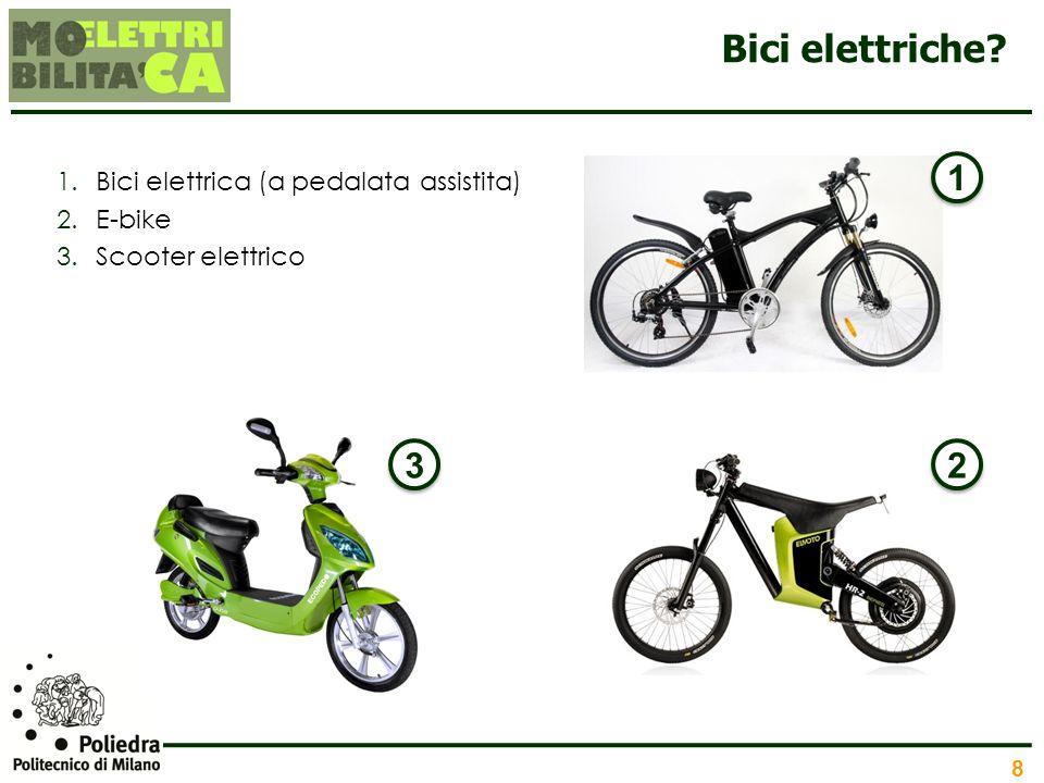 8 Bici elettriche? 1.Bici elettrica (a pedalata assistita) 2.E-bike 3.Scooter elettrico 1 1 2 2 3 3