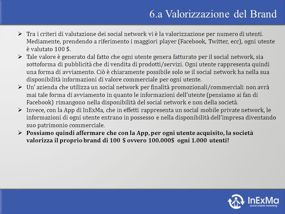 6.a Valorizzazione del Brand Tra i criteri di valutazione dei social network vi è la valorizzazione per numero di utenti.