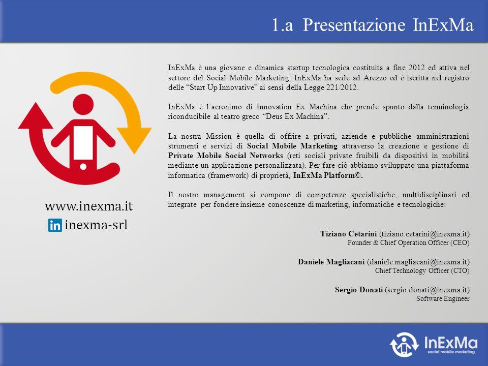 InExMa è una giovane e dinamica startup tecnologica costituita a fine 2012 ed attiva nel settore del Social Mobile Marketing; InExMa ha sede ad Arezzo ed è iscritta nel registro delle Start Up Innovative ai sensi della Legge 221/2012.