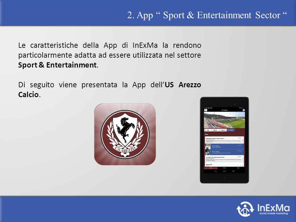 2. App Sport & Entertainment Sector Le caratteristiche della App di InExMa la rendono particolarmente adatta ad essere utilizzata nel settore Sport &